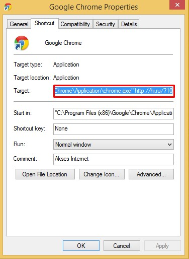 Properties Google Chrome