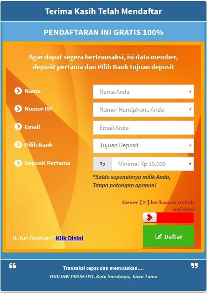 registrasi sistem pembayaran online terlengkap